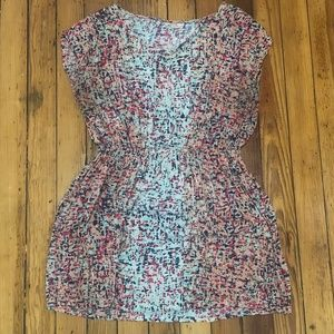 Colorful Abstract Print Dress with Peekaboo Back